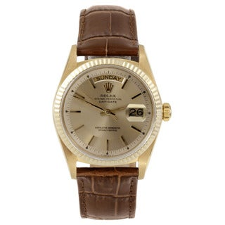 Rolex Men's Yellow Gold Pre-owned Day-date Watch with Champagne Stick Dial and Fluted Bezel
