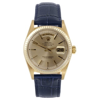 Rolex Day-Date Yellow Gold Champagne Stick Dial Fluted Bezel Men's Pre-owned Watch