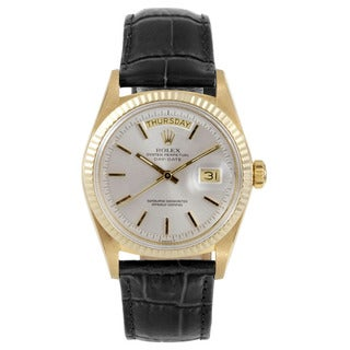 Rolex Men's Day-Date Yellow Gold Silver Stick Dial Fluted Bezel Pre-owned Watch