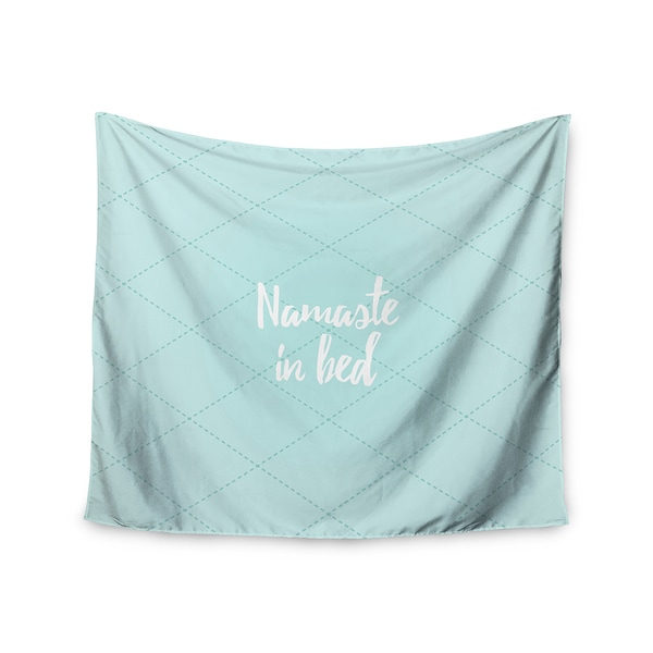 Kess InHouse KESS Original 'Namaste In Bed Teal' Blue White 51x60-inch Wall Tapestry