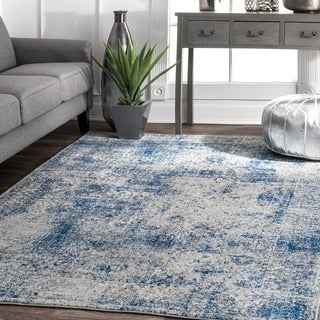 nuLOOM Vintage Distressed Blue Rug (9' x 12')