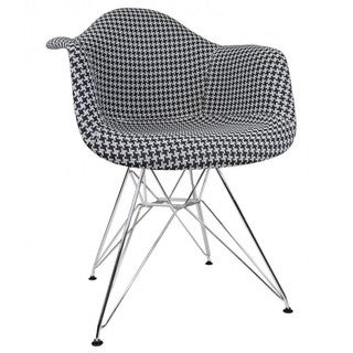Black, White Fabric, Plastic, Polypropylene, Steel Accent Chair
