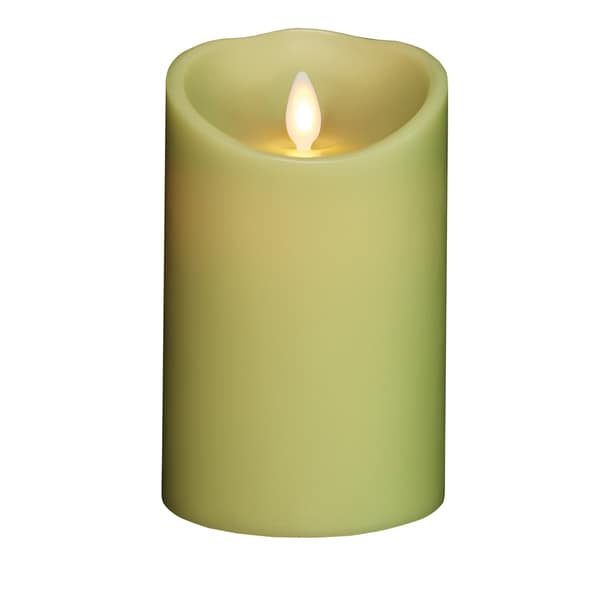 "Torchier 3.5""x5"" Light Green Citrus Scented Flameless Wax Pillar Candle"