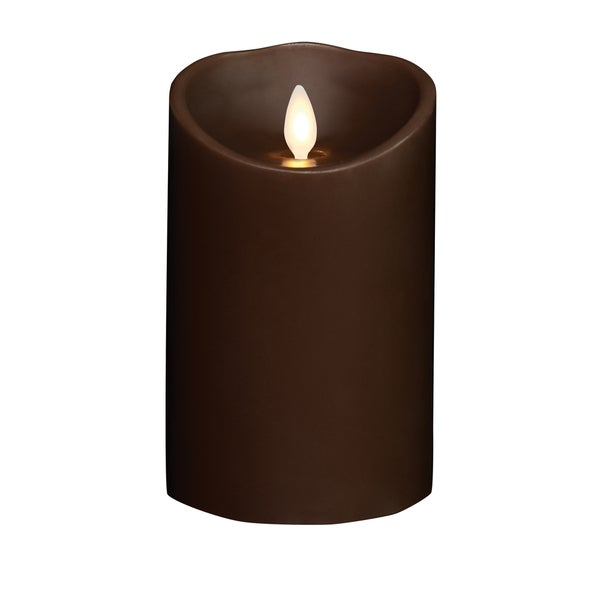 "Torchier 3.5""x5"" Dark Brown Sandalwood Scented Flameless Wax Pillar Candle"
