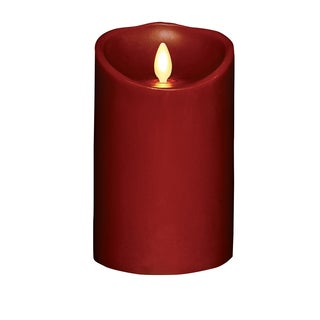 "Torchier 3.5""x5"" Red Cinnamon Scented Flameless Wax Pillar Candle"