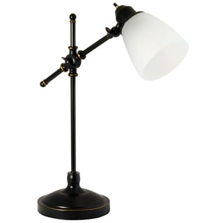 Light Accents Vintage Style Desk Lamp with Frosted White Glass Shade