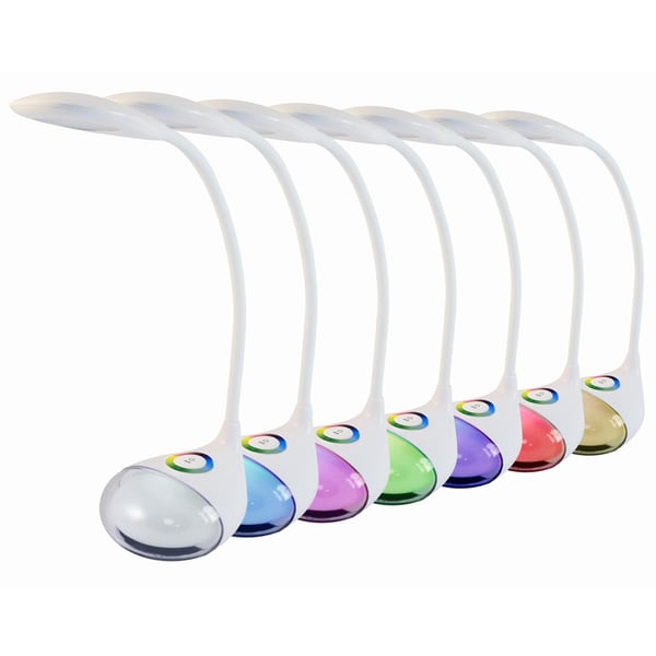 Light Accents White LED Color-changing Desk Lamp with 3-level Dimmer, 5-watt LED, and Touch Control Night Light
