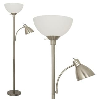 Light Accents Brushed Nickel 150-watt Floor Lamp With Side Reading Light