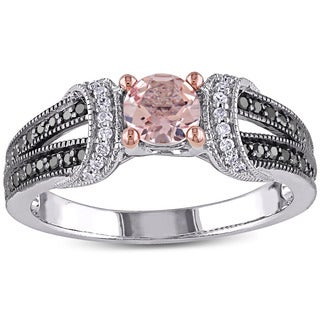Miadora Sterling Silver Morganite and 1/4ct TDW Black and White Diamond Engagement Ring (G-H, I1-I2)