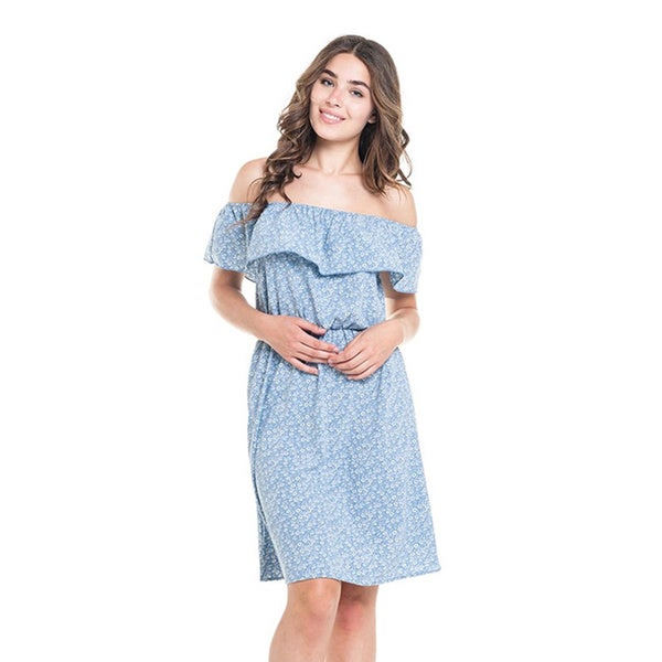 MOA Collection Women's Blue Polyester/Spandex Floral Print Short-sleeve Dress