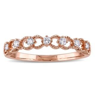 Miadora 14k Rose Gold 1/6ct TDW Diamond Filligree Ring (G-H, SI1-SI2)