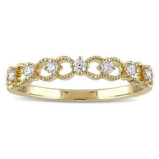 Miadora 14k Yellow Gold 1/6ct TDW Diamond Filligree Ring (G-H, SI1-SI2)