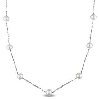Miadora Sterling Silver Freshwater Pearl and Diamond Cut Ball Chain Station Necklace (6.5-7 mm)