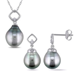 Miadora 10k White Gold Black Tahitian Pearl and Diamond Accent Earring and Necklace Set (8-9.5mm)