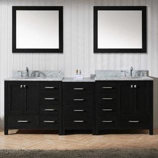 Virtu USA Caroline Avenue 90-inch Double Bathroom Vanity Set in Zebra Grey