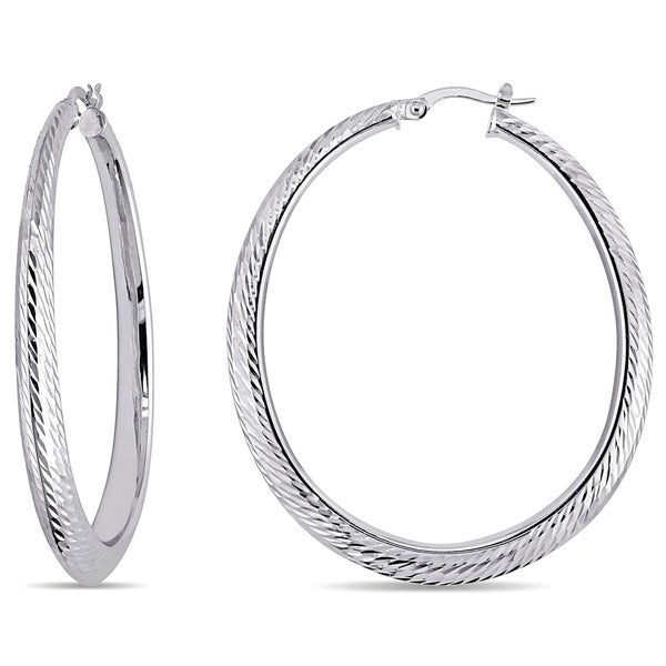 Miadora 14k White Gold Classic Hoop Earrings