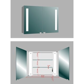 MTD Vanities Aria LV04 Silver Metal 30.7-inch x 26.3-inch LED Illuminated Mirror Medicine Cabinet