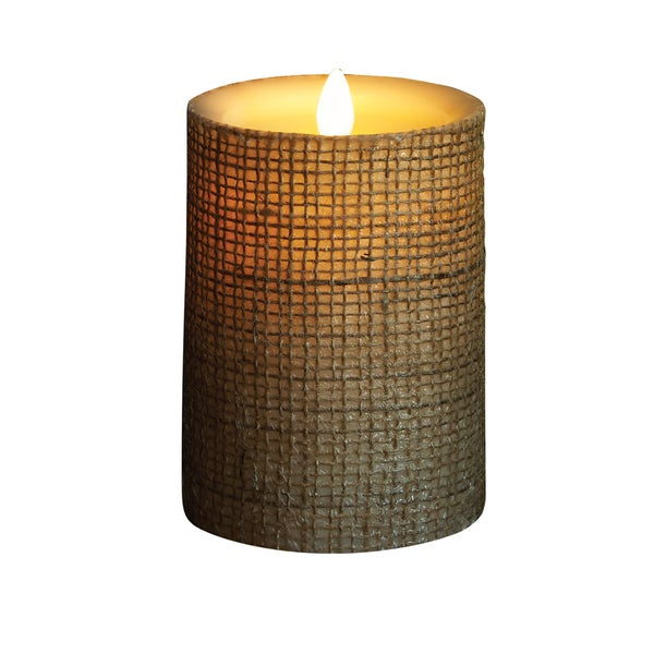 """Torchier 3.5""""x5"""" Ivory In Burlap Flameless Wax Pillar Candle 19474447"""