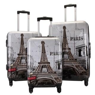 Oh La La Paris' Eiffel Tower 3-piece Hardsided Spinner Super Lightweight Luggage Set