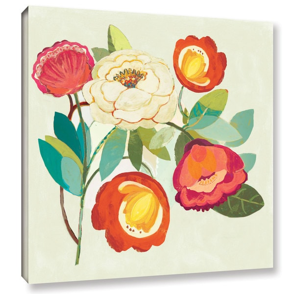 Dusty Knight's 'Golden Kisses I Spice and Fuchsia Vignette' Gallery Wrapped Canvas