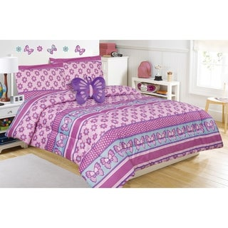 Flower and Butterfly Comforter Set with Decorative Pillow