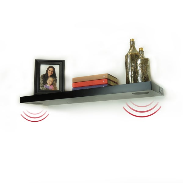 Lewis Hyman Wall Mounted Black Floating Shelf with 2 Bluetooth Speakers