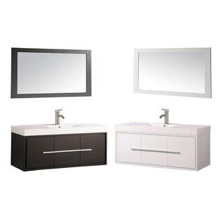 MTD Vanities Wood/Acrylic 48-inch Single-sink Wall-mounted Floating Bathroom Vanity Set