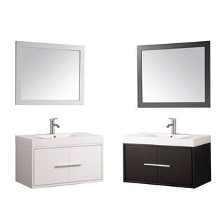 The Cypress Single-sink Wood Acrylic and Chrome 36-inch Wall-mounted Bathroom Vanity Set