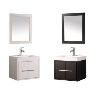 MTD Vanities Cypress Painted White/Espresso Wood/Oak/Acrylic 24-inch Single Sink Wall Mounted Floating Bathroom Vanity Set