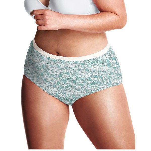 Just My Size Women's Lace Effects 100-percent Cotton Tagless Brief Panties (Pack of 5 Assorted)