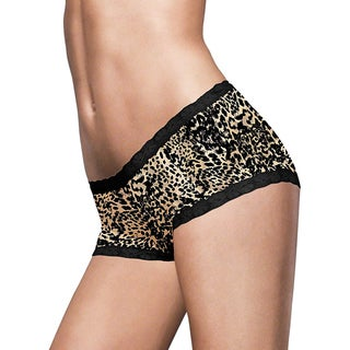 Feeling Fabulous Women's Black/Yellow Microfiber and Lace Boyshorts