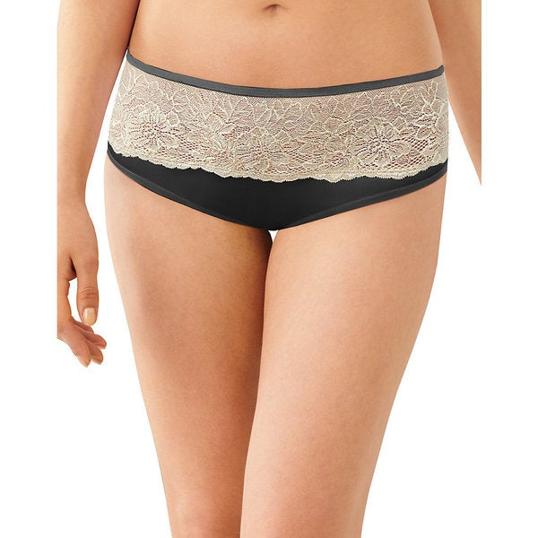 Bali Women's One Smooth Black/Nude Nylon/Spandex U Comfort Indulgence Satin with Lace Hipster