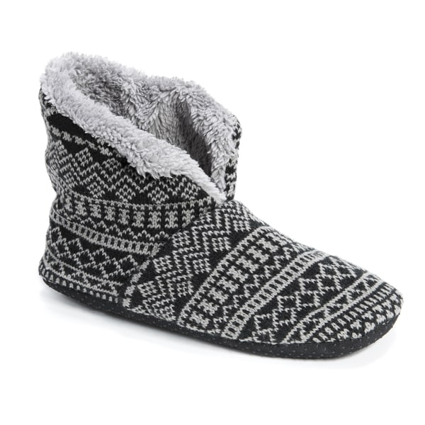MUK LUKS Men's Black/Grey Faux Fur Slipper Booties