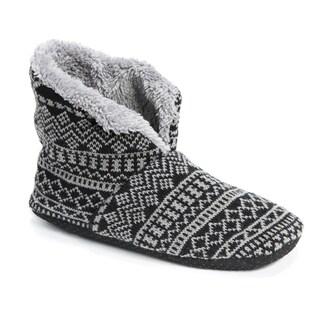 MUK LUKS Men's Black/Grey Faux Fur Slipper Booties