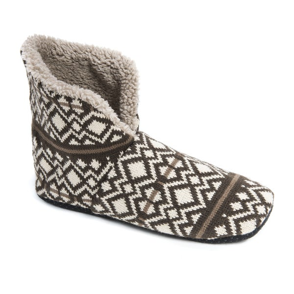 Muk Luks Men's Brown Acrylic/Faux Fur/Polyester Slipper Booties