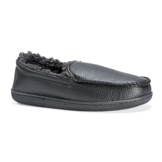 Muk Luks Men's Black Polyester/Polyurethane Moccasin Slippers