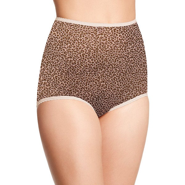 Skimp Skamp Women's Beige/Brown Nylon/Spandex Animal Print Brief Panty