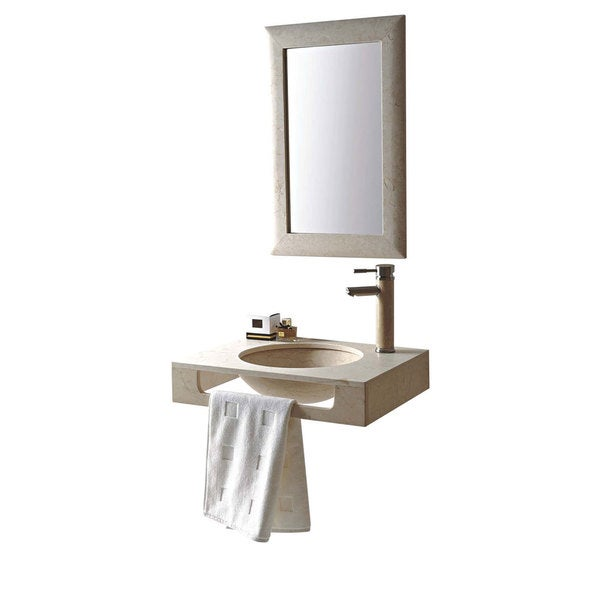 Rome Natural Beige Galala Marble Stone 24-inch Wall Mount Vanity Set With Single Undermount Sink