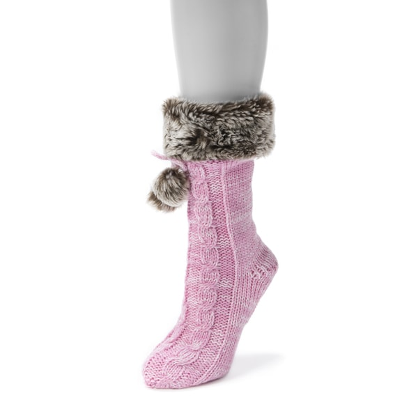Muk Luks Women's 1-pair Solid Faux Fur Cuffed Socks with Poms