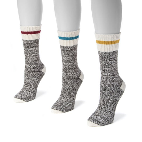 Muk Luks Women's Striped Marl Boot Socks (3-pair Pack)