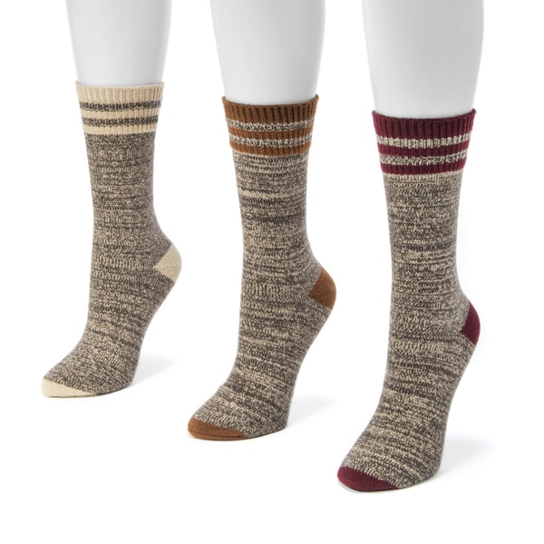 Muk Luks Women's Multicolor Polyester and Nylon Striped Marl Boot Socks (Pack of Three Pairs)