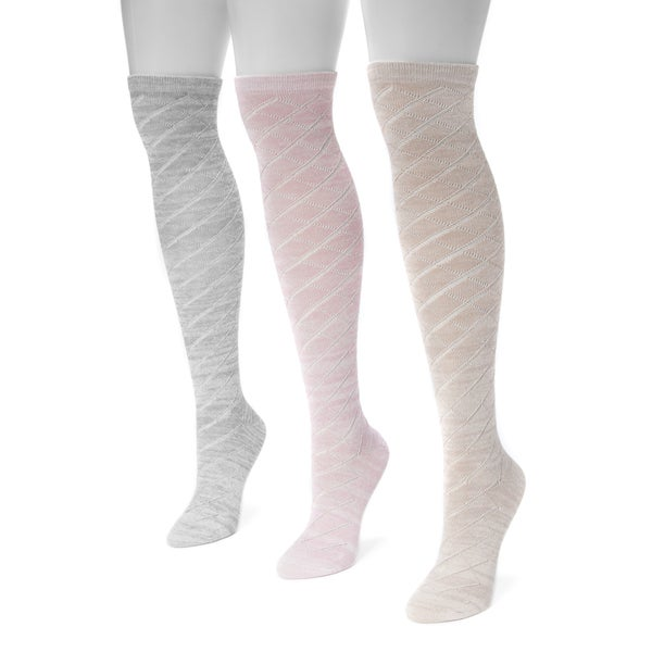 Muk Luks Women's Pointelle Marl Knee-high Socks (Pack of 3)