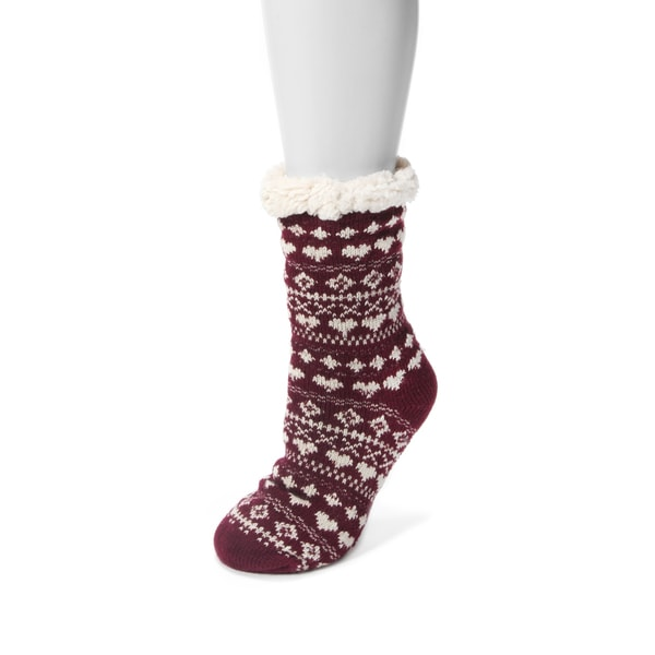 Muk Luks Women's Red Acrylic and Polyester 1-pair Fluffy Cabin Socks