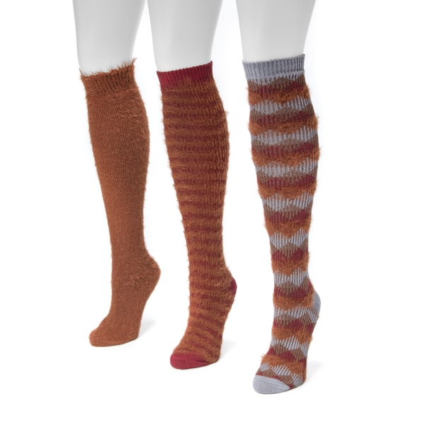 MUK LUKS Women's Fuzzy Yarn 3-pair Pack Knee-high Socks