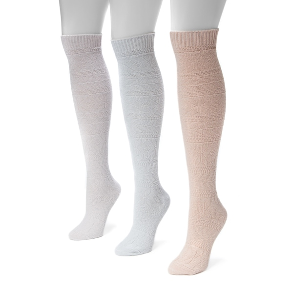 MUK LUKS Women's Diamond Knee High Socks (Pack of 3)