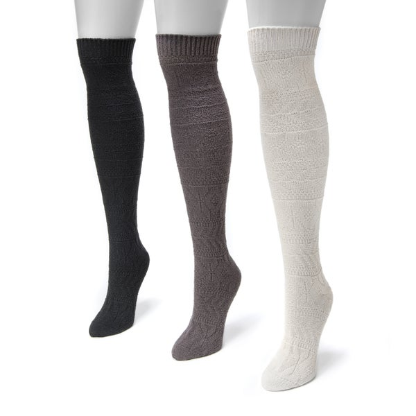 MUK LUKS Women's Diamond Knee-high Socks (Pack of 3)