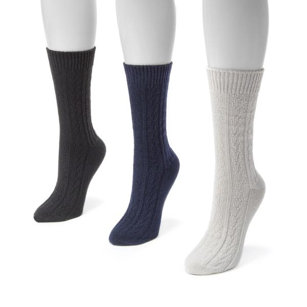 Muk Luks Women's 3-pair Pack Cable Boot Socks