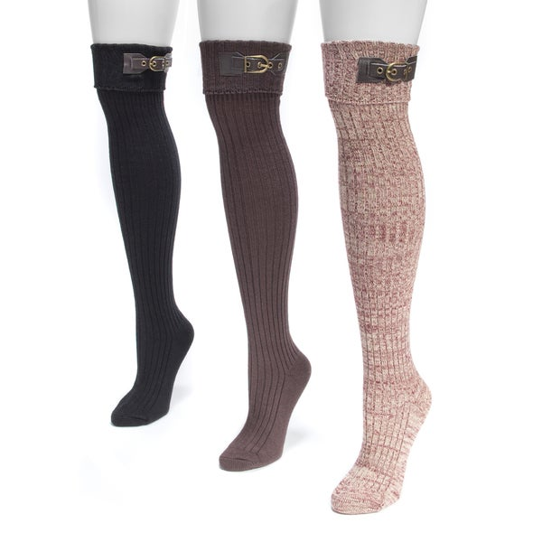 Muk Luks Women's Buckle-cuff Over-the-knee Socks (3-pair Pack)