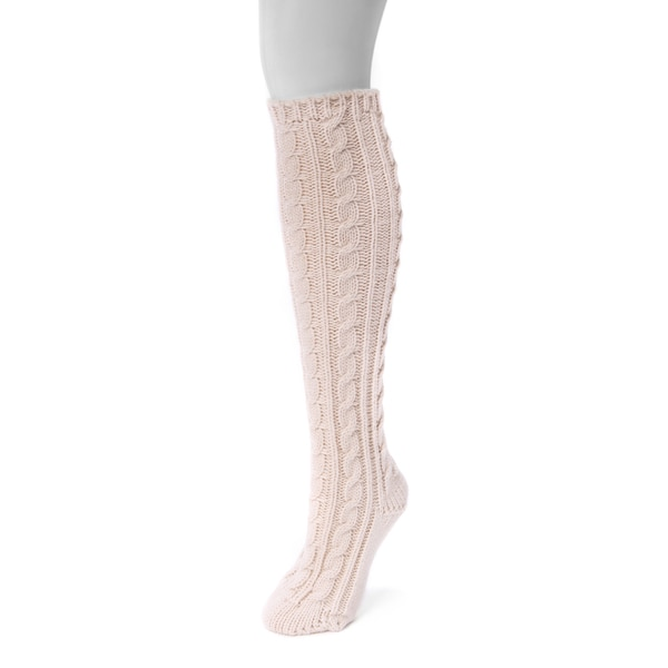 Muk Luks Women's Pink Acrylic Knee High Socks (1-pair)