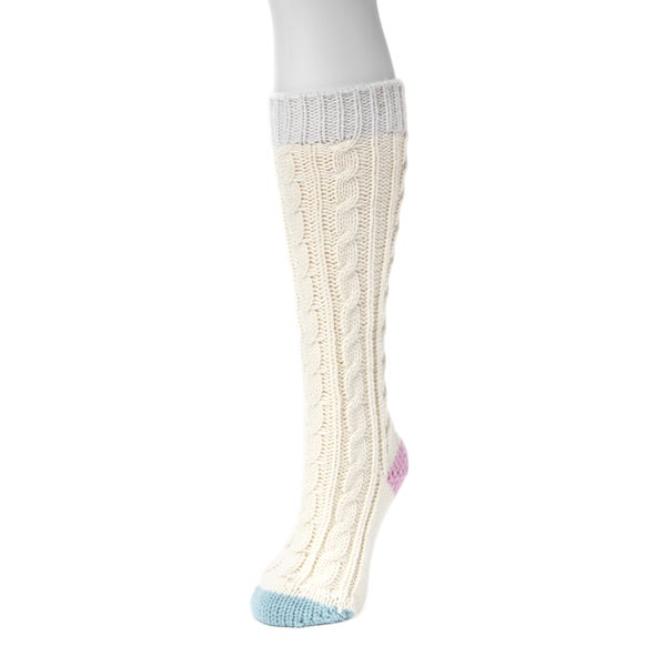MUK LUKS Women's White Acrylic Knee High Socks (1 Pair)
